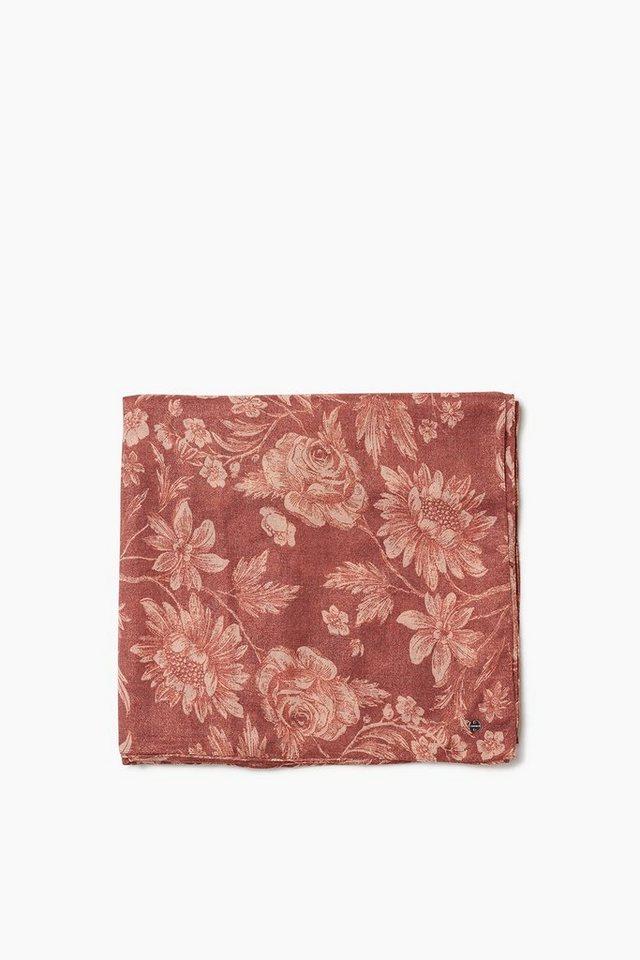 ESPRIT CASUAL Leichter Glamour Webschal mit Blüten-Print in GARNET RED