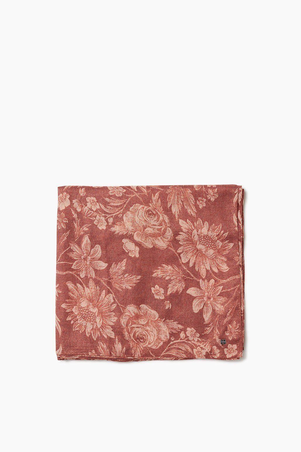 ESPRIT CASUAL Leichter Glamour Webschal mit Blüten-Print