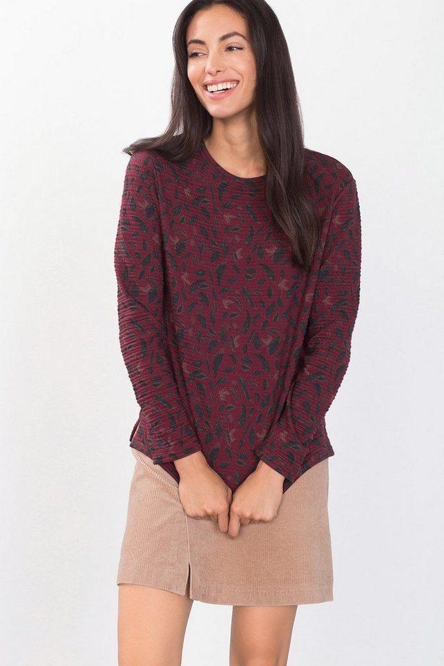 EDC Strukturiertes Sweatshirt mit Print in GARNET RED