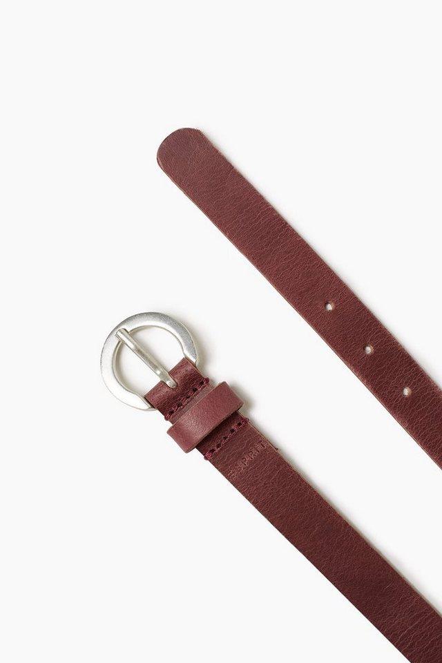 ESPRIT CASUAL Ledergürtel mit runder Metallschließe in GARNET RED