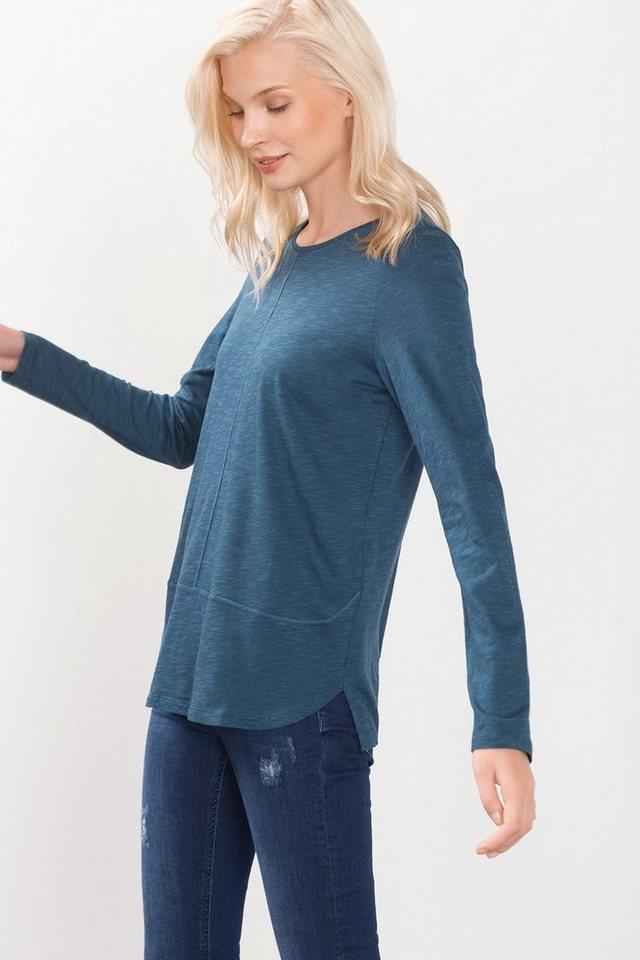 ESPRIT COLLECTION Fließendes Slub-Jersey-Shirt in PETROL BLUE