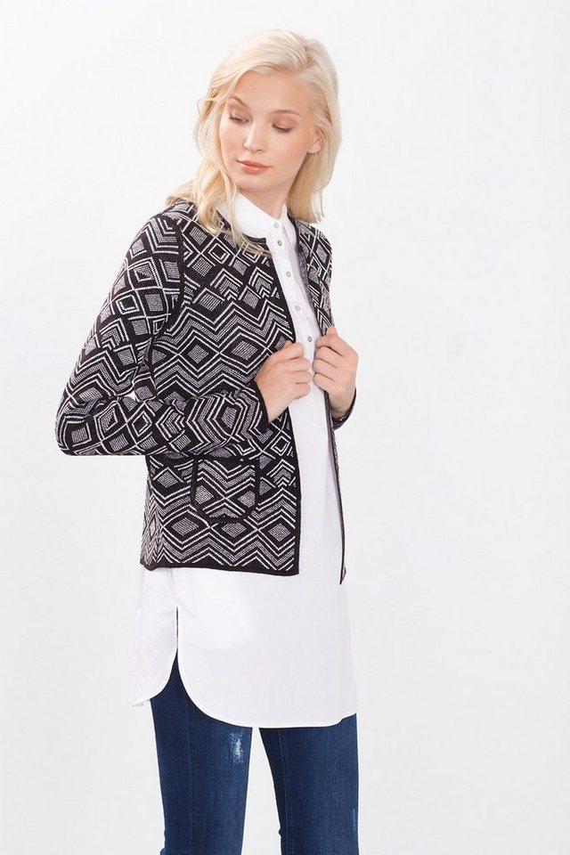 ESPRIT CASUAL Jacquard Cardigan in Kontrast-Design in BLACK