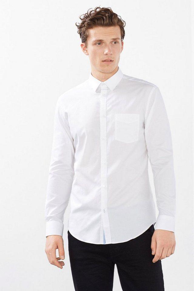 ESPRIT COLLECTION Hemd mit Struktur, 100% Baumwolle in WHITE