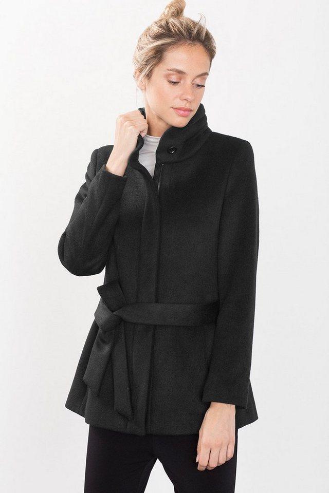 ESPRIT COLLECTION Jacke mit Stehkragen aus Wollmix in BLACK