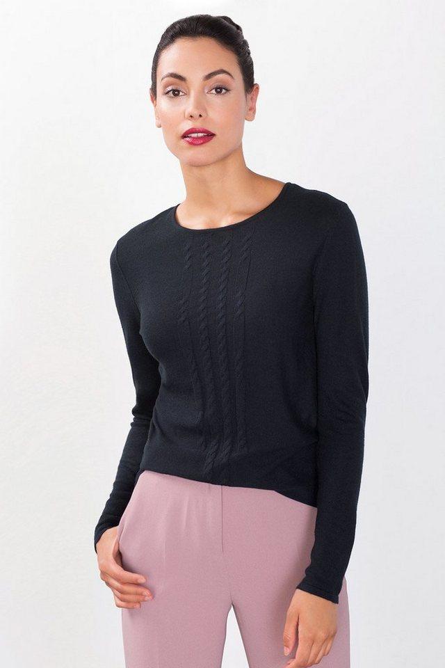 ESPRIT COLLECTION Feinstrick-Sweater mit Zopfmuster in NAVY