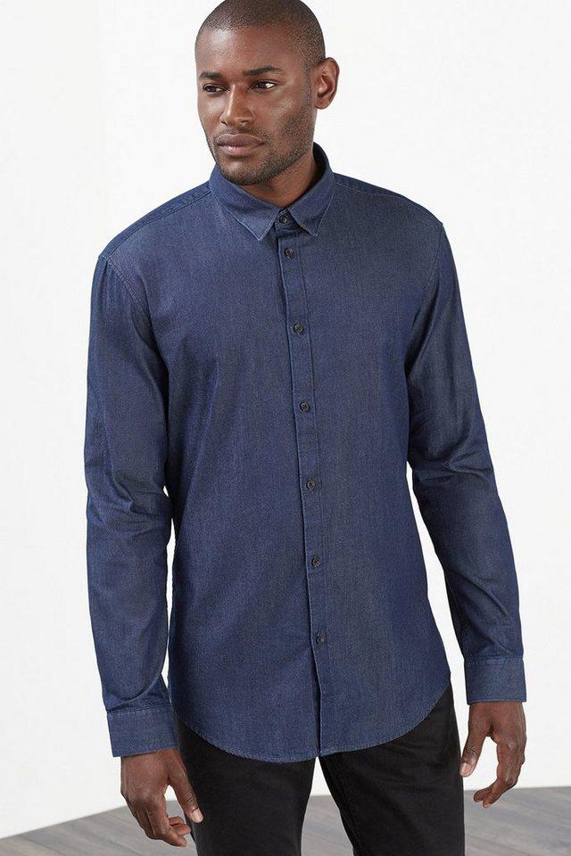 ESPRIT COLLECTION Leichtes Denim Hemd, 100% Baumwolle in NAVY