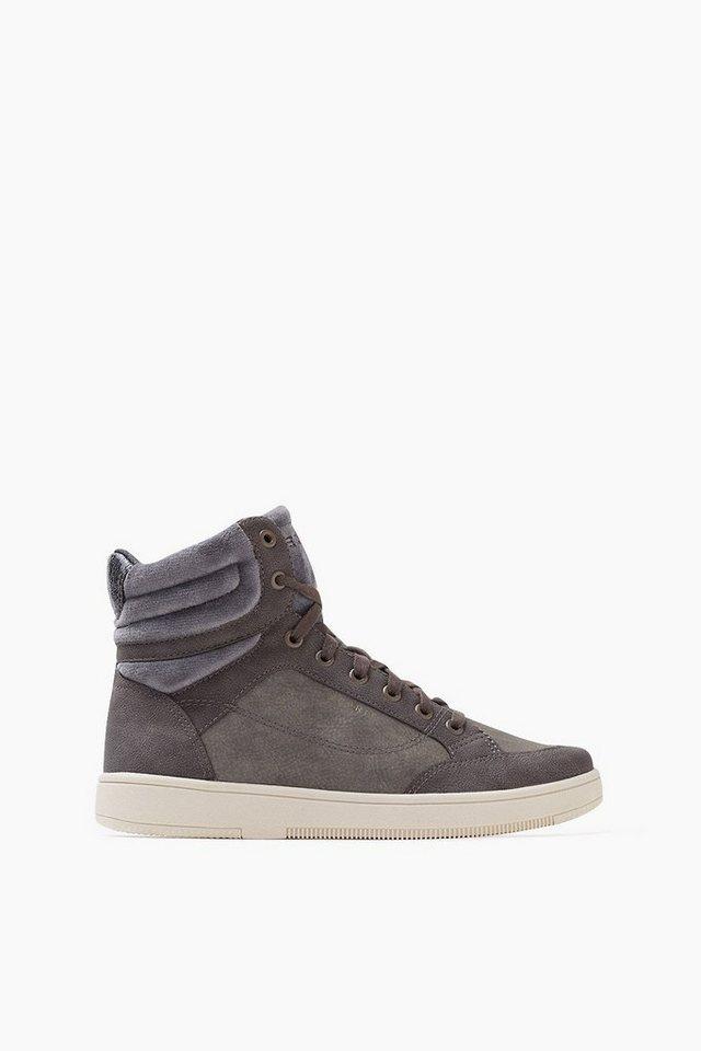 ESPRIT CASUAL Material-Mix High Top Sneaker in GUNMETAL
