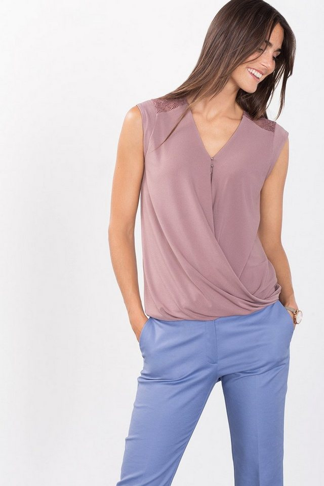 ESPRIT COLLECTION Fließendes Crepe-Jersey-Shirt mit Spitze in MAUVE