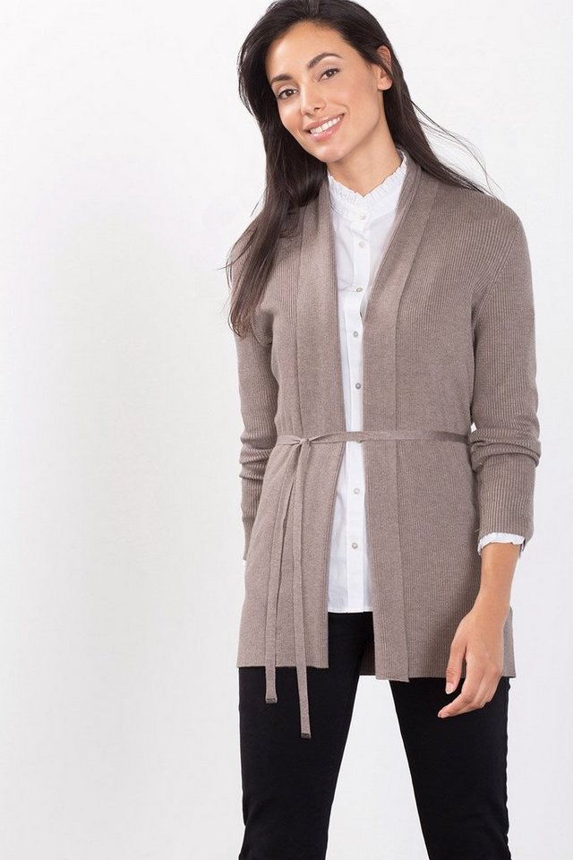 ESPRIT COLLECTION Rip-Cardigan mit Stretch in TAUPE