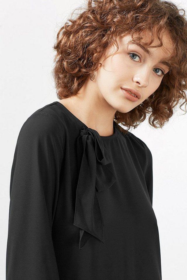ESPRIT CASUAL Fließende Bluse mit Schleife in BLACK