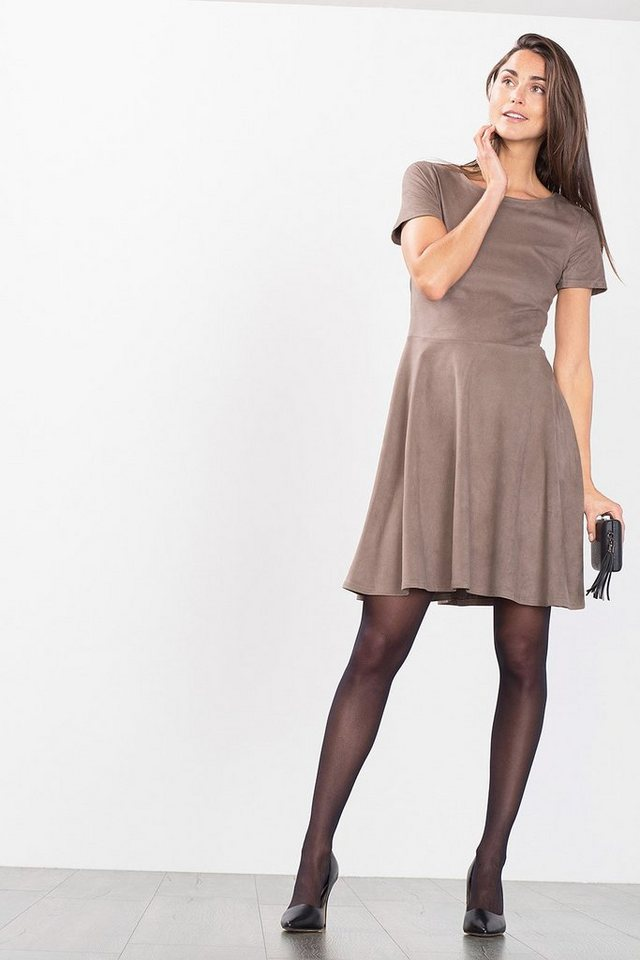 ESPRIT CASUAL Samtig weiches Velours-Kleid in TAUPE
