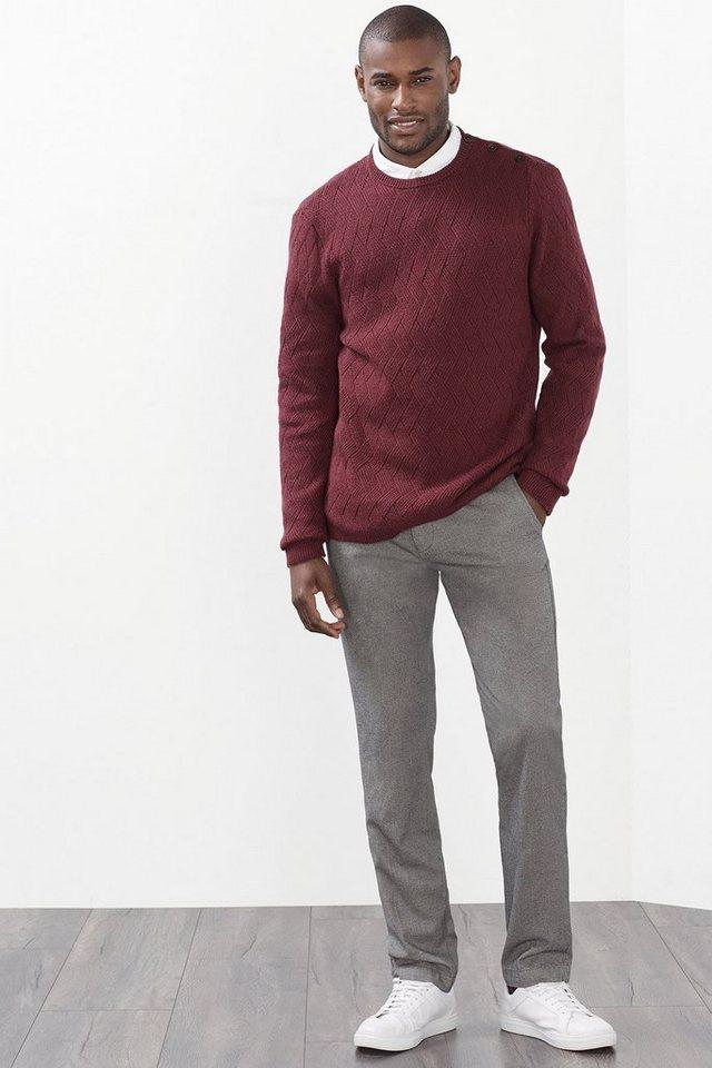 ESPRIT COLLECTION Baumwoll/Woll Pullover mit Strukturmuster in GARNET RED