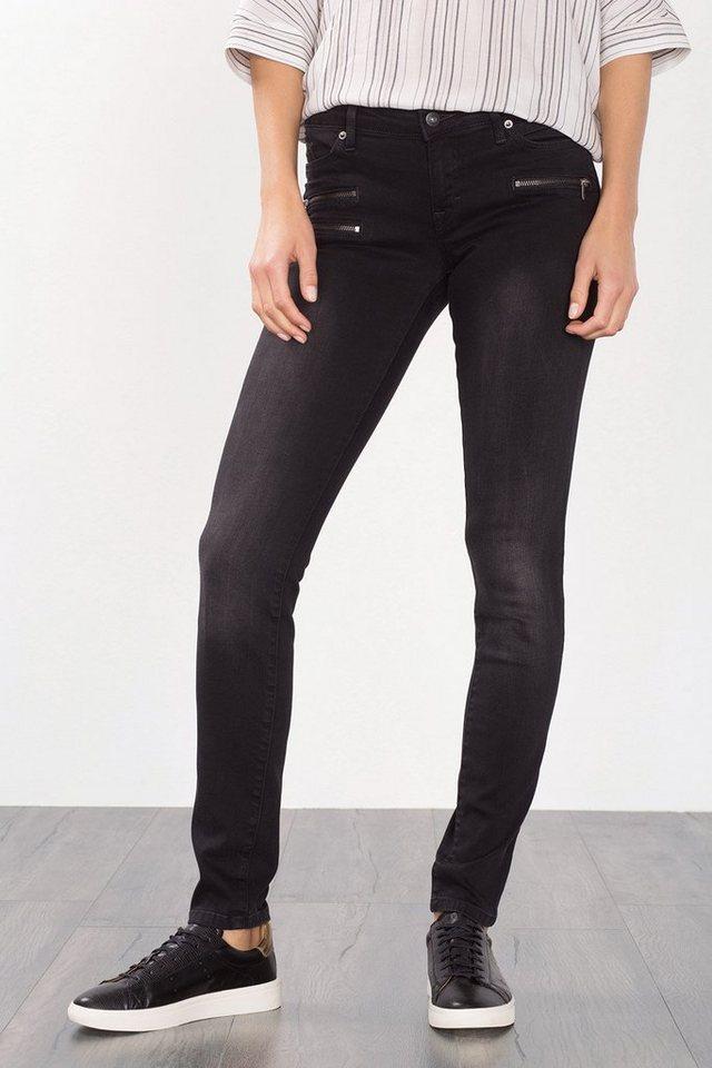 EDC Stretch-Jeans mit Zipper-Details in BLACK DARK WASHED