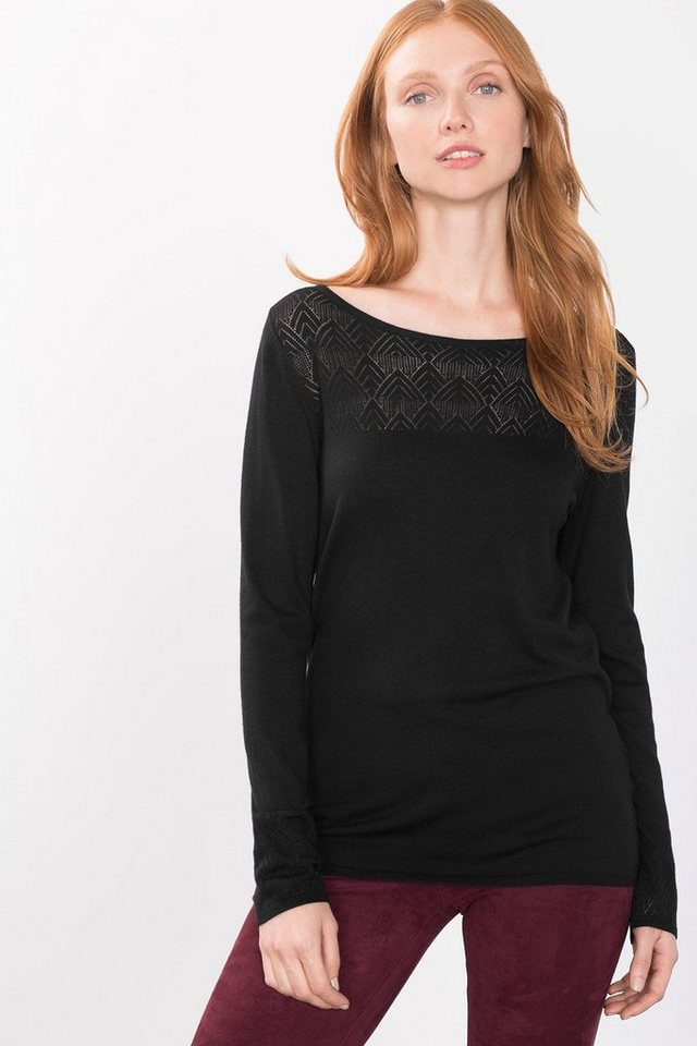 ESPRIT COLLECTION Feinstrick-Sweater mit Ajour-Akzenten in BLACK