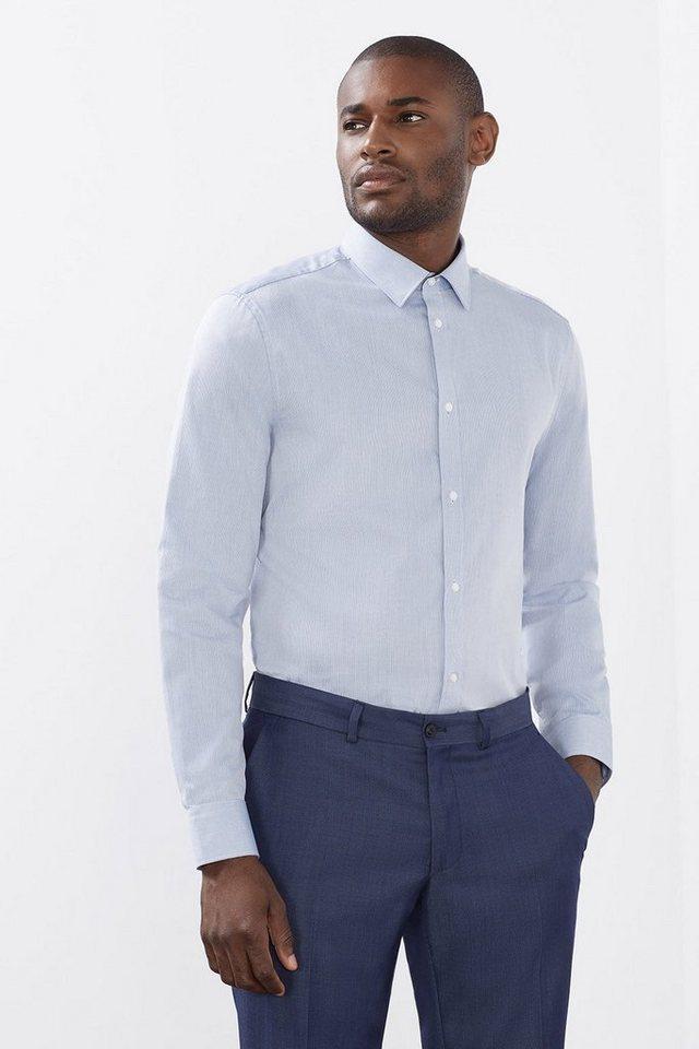 ESPRIT COLLECTION Baumwoll-Mix Hemd mit Strukturstreifen in BLUE