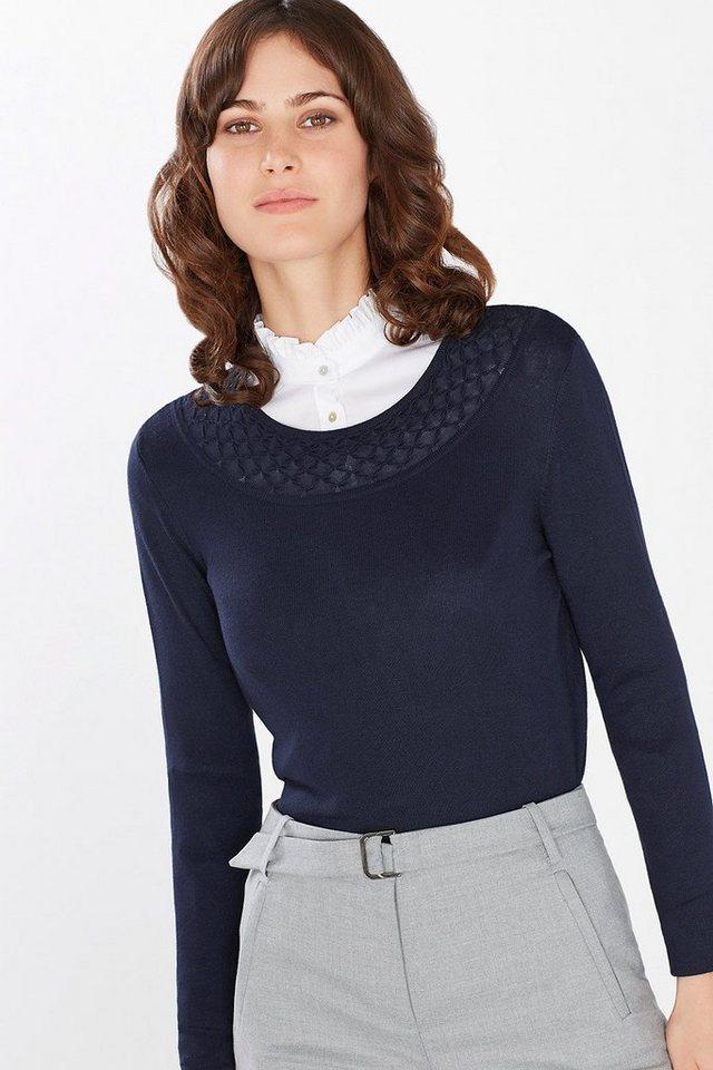 ESPRIT COLLECTION Feinstrick-Sweater mit Layer-Effekt in NAVY