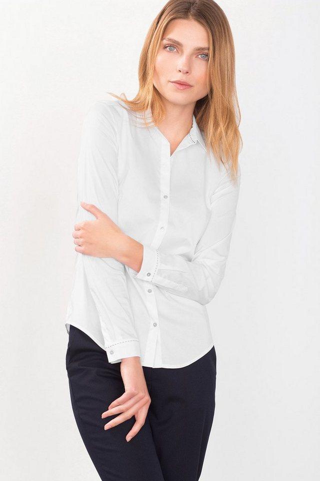 ESPRIT COLLECTION Stretch Hemdbluse mit Stitching-Akzent in WHITE