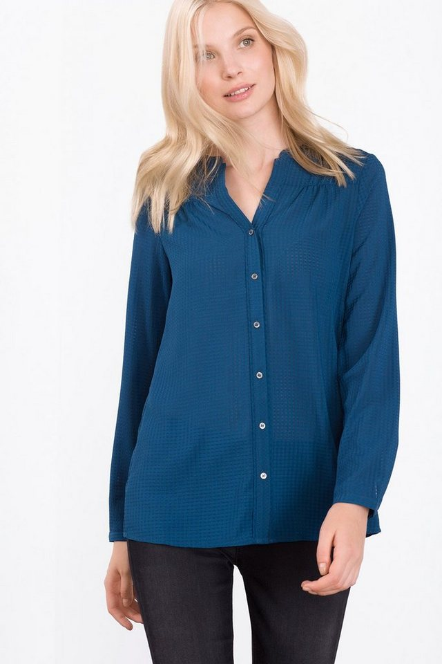 ESPRIT COLLECTION Fließende Bluse in Karostruktur in PETROL BLUE