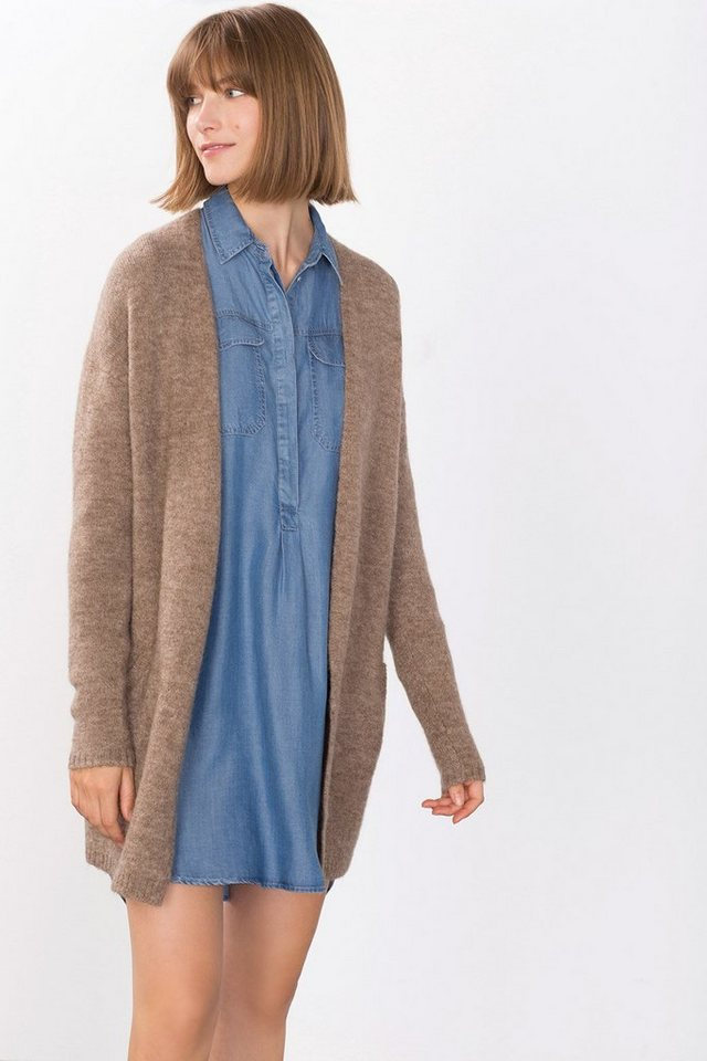 ESPRIT CASUAL Offener Cardigan mit Wolle und Mohair in TAUPE