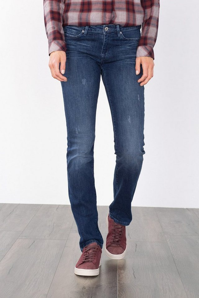 EDC Stretch-Jeans mit Used-Effekten in BLUE DARK WASHED