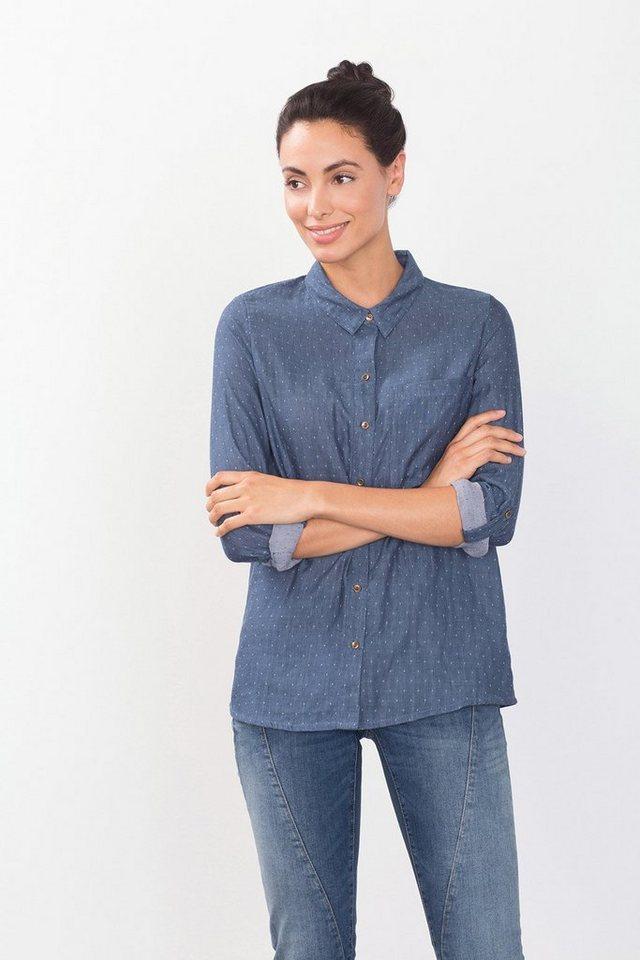 EDC Getupfte Hemdbluse aus Baumwolle in BLUE