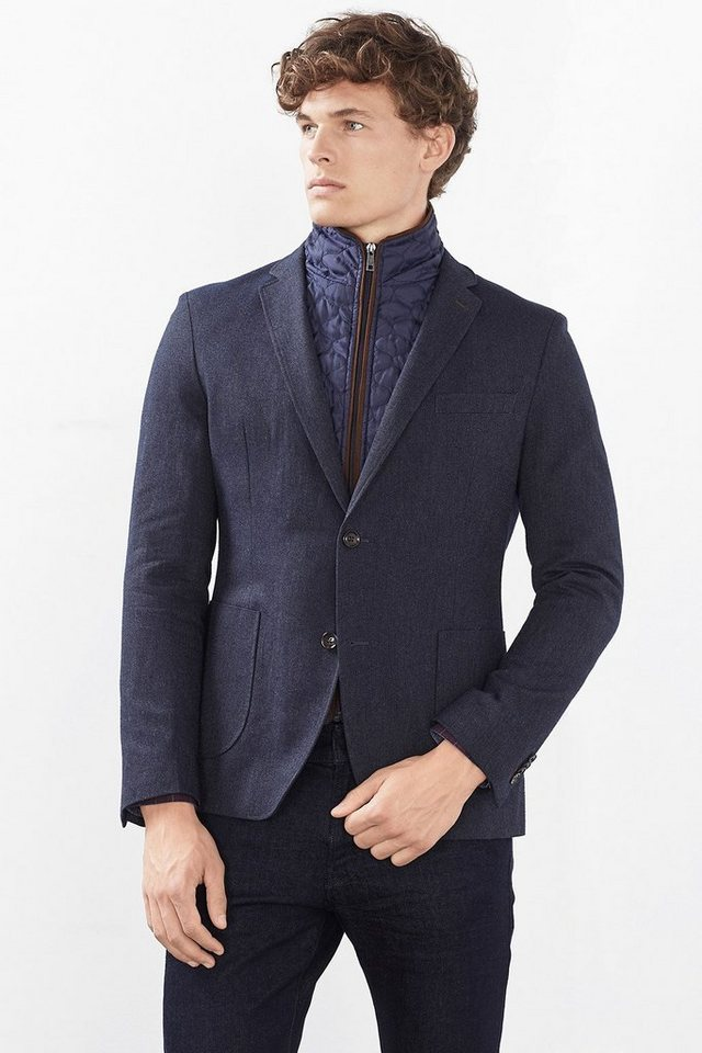 ESPRIT COLLECTION Baumwoll Blazer mit Zip-Off-Einsatz in NAVY