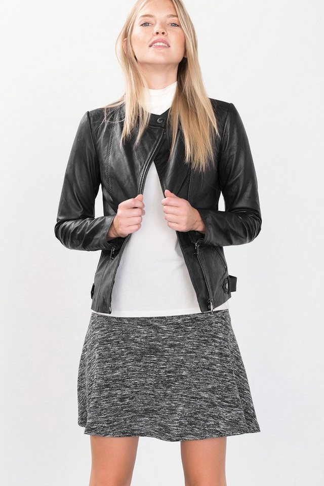 ESPRIT CASUAL Biker-Jacke aus softem Leder in BLACK