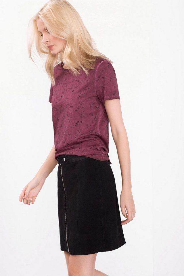 ESPRIT CASUAL Gewaschenes Print-Shirt, 100% Baumwolle in GARNET RED