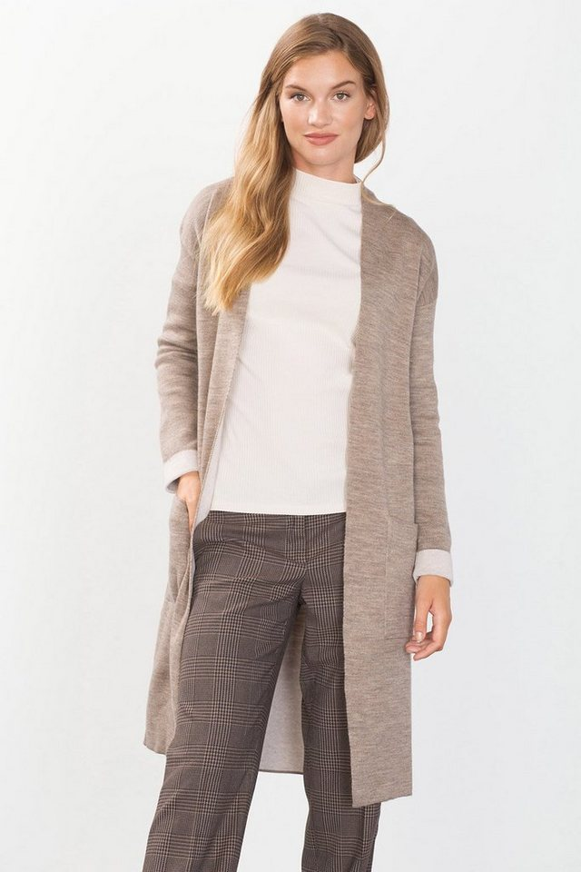 ESPRIT CASUAL Cardigan aus weichem Double-Face-Strick in TAUPE