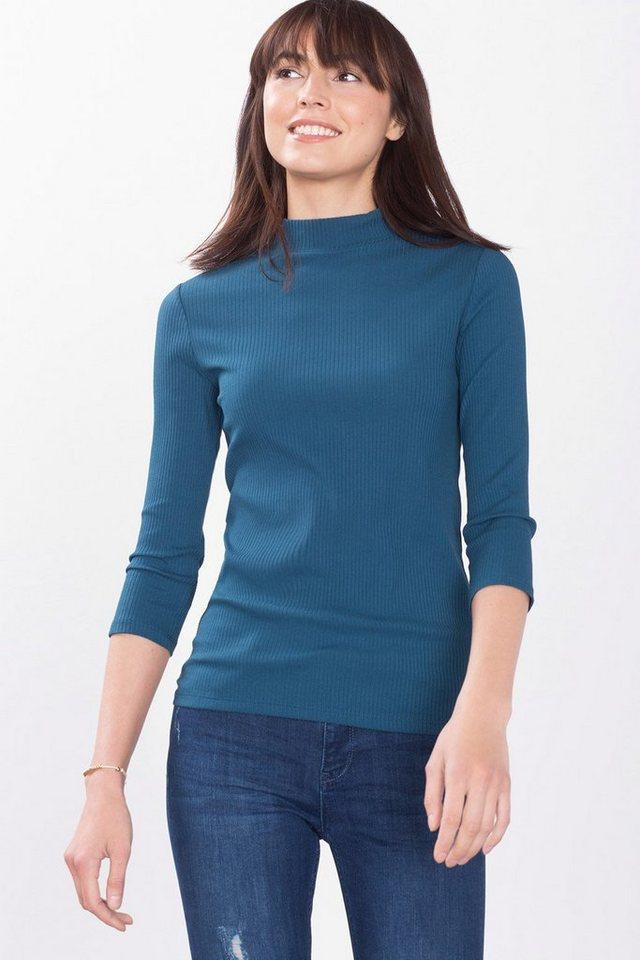 ESPRIT COLLECTION Rip-Jersey-Shirt mit Tunnelkragen in PETROL BLUE