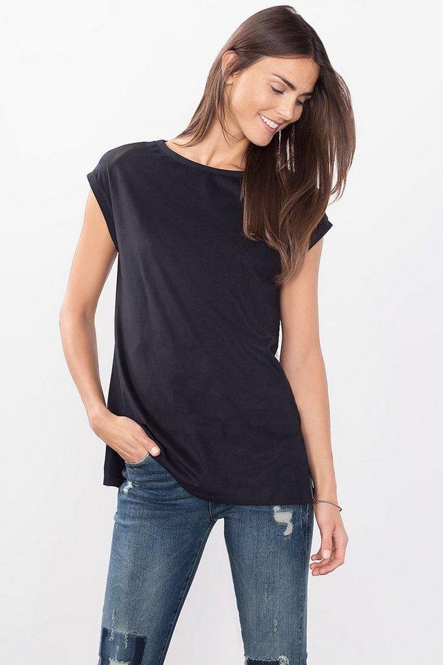 ESPRIT CASUAL Samtig weiches Velours Shirt in NAVY