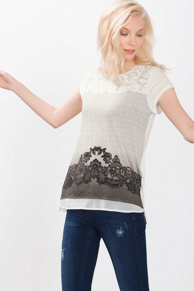 ESPRIT COLLECTION Artwork Shirt mit Spitzen-Print und Layer in OFF WHITE