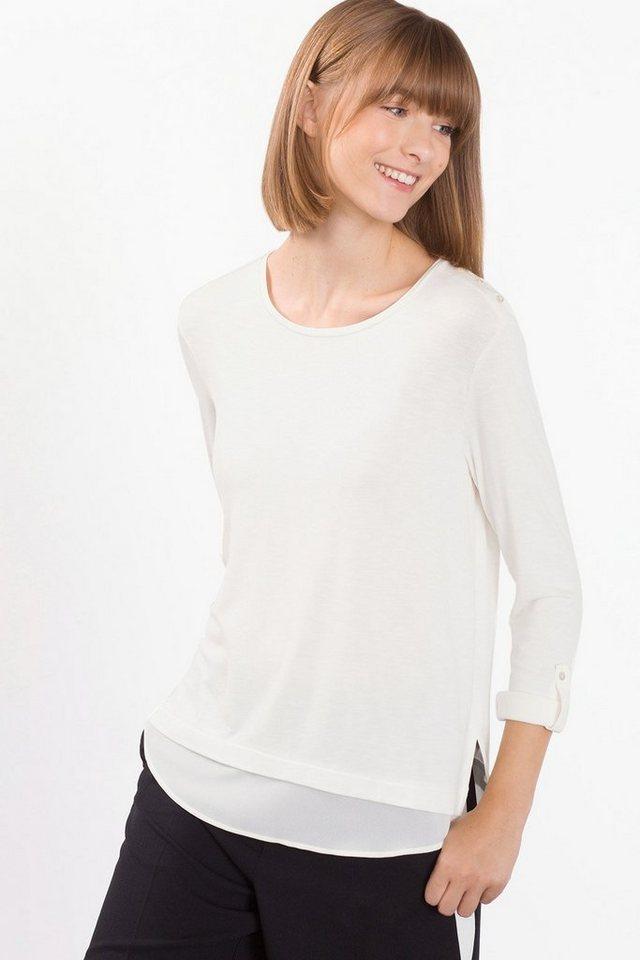 ESPRIT COLLECTION Slub-Jersey-Shirt mit Chiffon-Layer in OFF WHITE