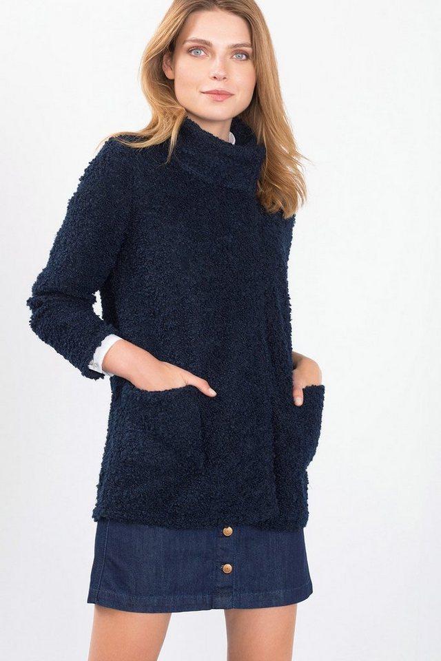 ESPRIT CASUAL Bouclé-Jacke mit hohem Kragen, Woll-Mix in NAVY