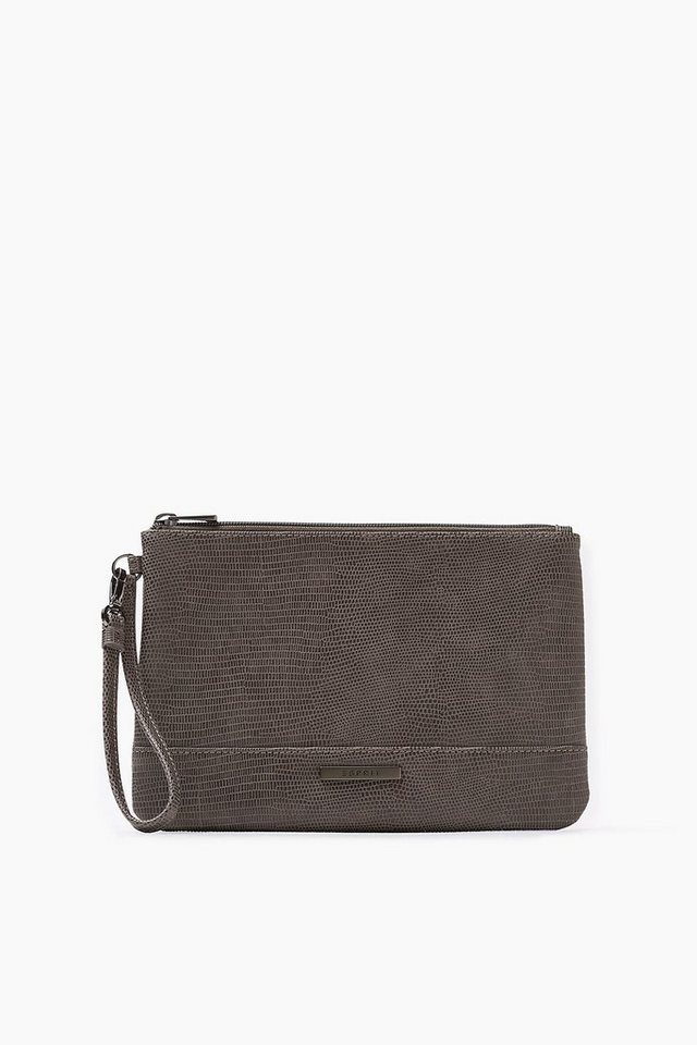 ESPRIT CASUAL Softe Zip Clutch in Snake-Optik in GREY