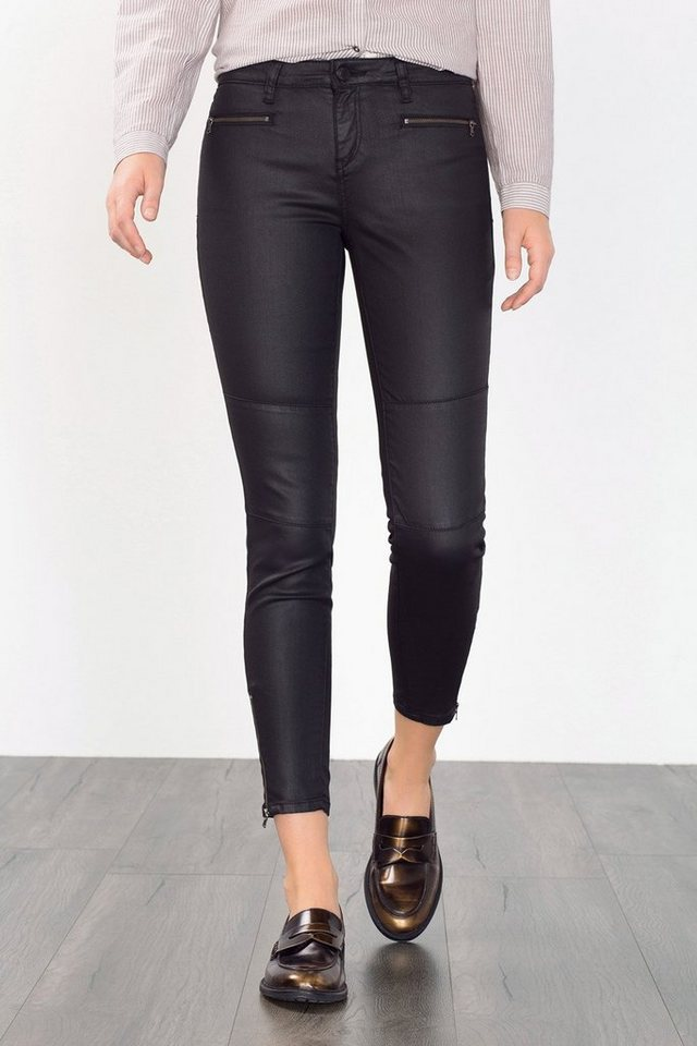 ESPRIT CASUAL Coated Skinny Denim mit Zipper-Details in BLACK DARK WASHED