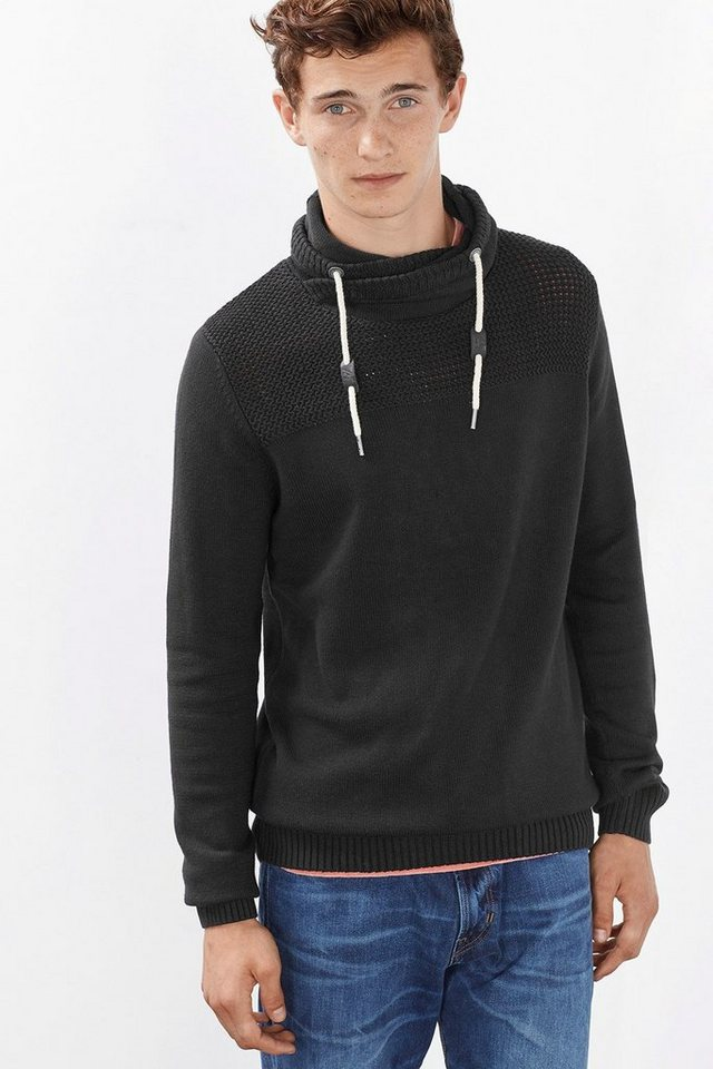 EDC Pulli mit Layer-Kragen, 100% BW in BLACK