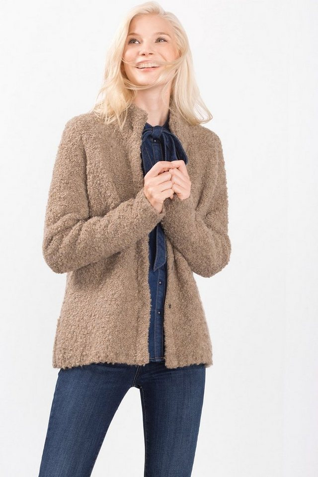 ESPRIT CASUAL Flauschige Bouclé Jacke in TAUPE