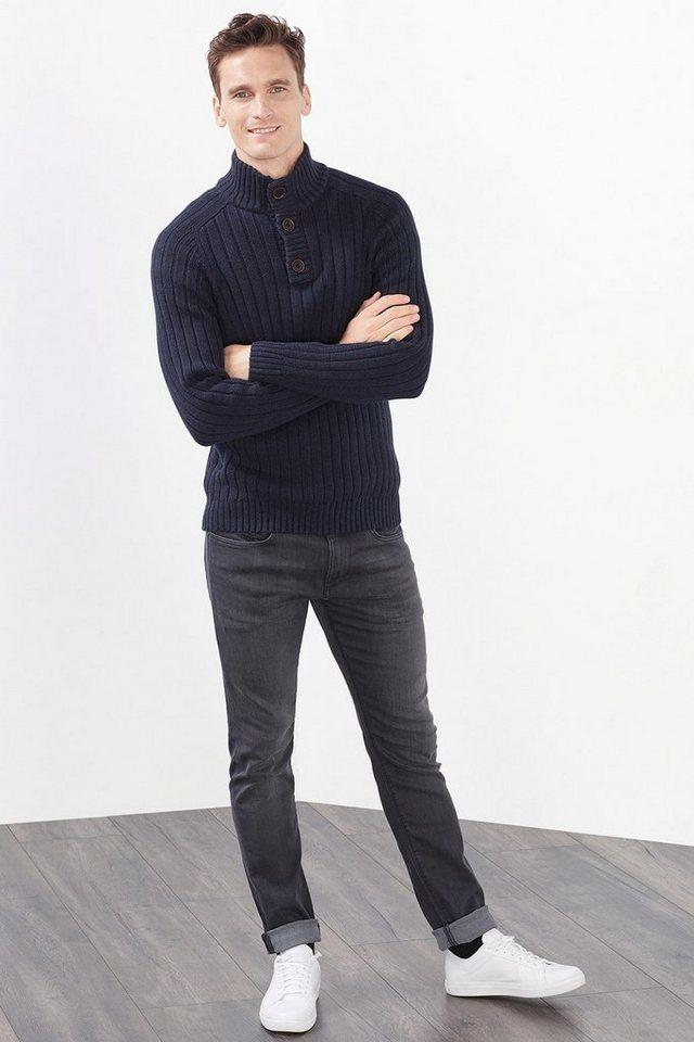 ESPRIT CASUAL Troyer aus Rippenstrick, 100% Baumwolle in NAVY