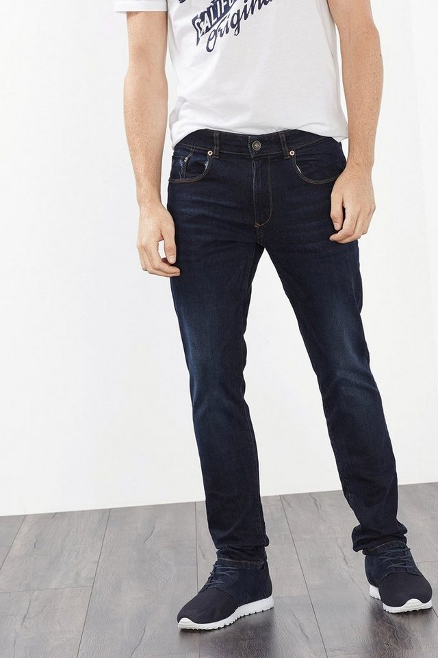 ESPRIT CASUAL Dunkle Stretch-Jeans, starke Used-Effekte in BLUE DARK WASHED