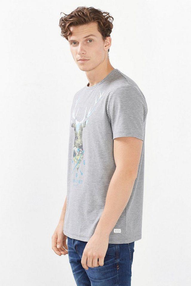EDC Jersey T-Shirt mit Hirsch-Motiv in MEDIUM GREY