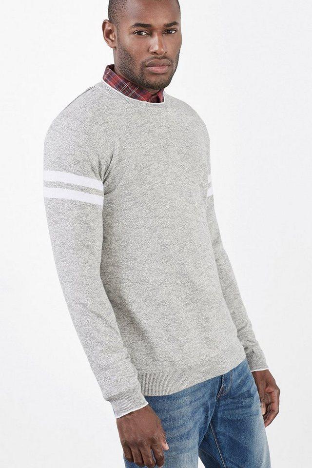 ESPRIT CASUAL Melange-Pulli mit Streifen,100% Baumwolle in LIGHT GREY