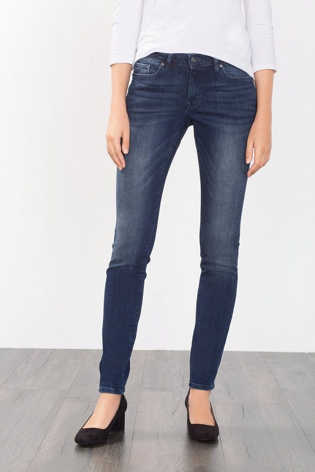 EDC Skinny 5-Pocket-Jeans mit Stretch in BLUE DARK WASHED