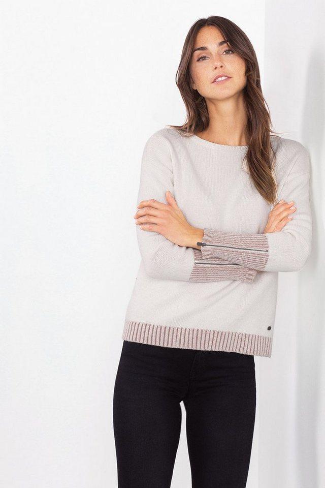 EDC Pulli mit Schurwolle und Zippern in OFF WHITE