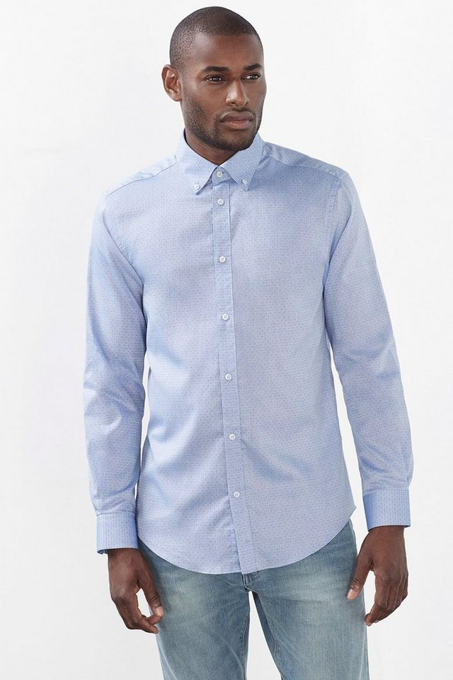 ESPRIT COLLECTION Hemd mit Webmuster, 100% Baumwolle in BLUE
