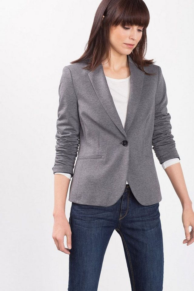 ESPRIT CASUAL Taillierter Sweat-Blazer in DARK GREY