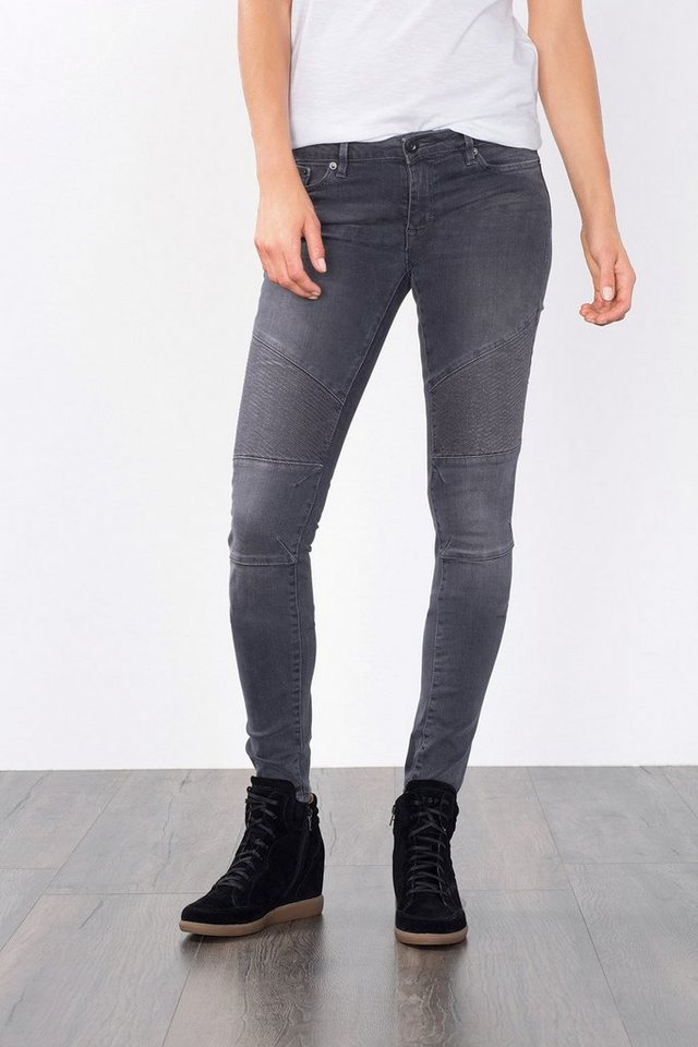 EDC Stretchige Jeans im Biker-Style in GREY MEDIUM WASHED