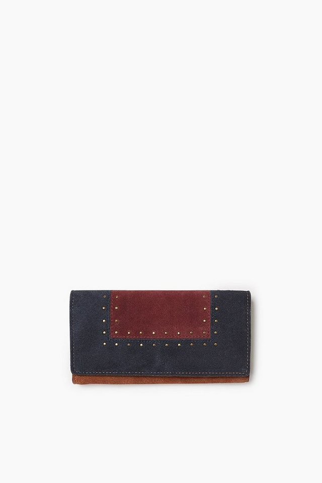 ESPRIT CASUAL Colorblock Clutch-Börse aus Veloursleder in RUST BROWN