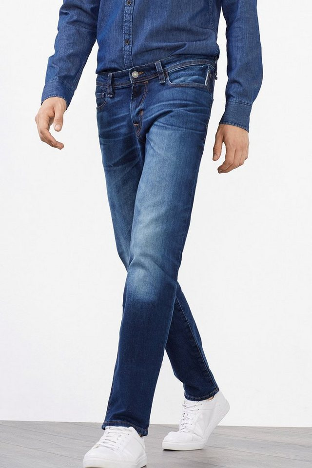 EDC 5-Pocket-Jeans aus Stretch-Denim in BLUE DARK WASHED