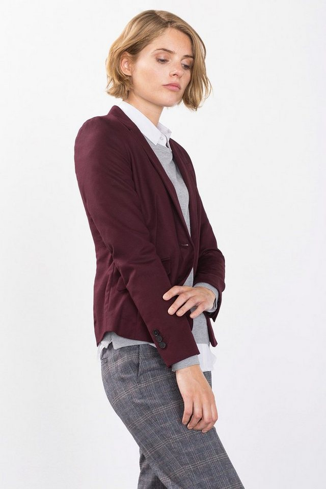 ESPRIT CASUAL Stretch-Blazer mit edlem Schimmer in BORDEAUX RED